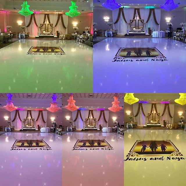 This is the same floor , but pictures were taken 3 seconds apart... just imagine the difference lighting/vinyl can make to your venue with our CUSTOM VINYL DANCE FLOOR.. email me at info@marqueedesign.ca or call me at 647-771-8007 special promo pricing if you book before 2017!!!