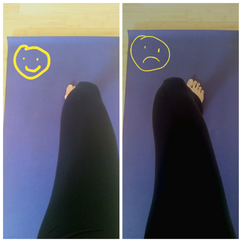 Imagine you are doing Warrior 2 pose and looking down at your toes. Left: Your knee is tracking the second toe :) Right: Your knee is buckling inward :(
