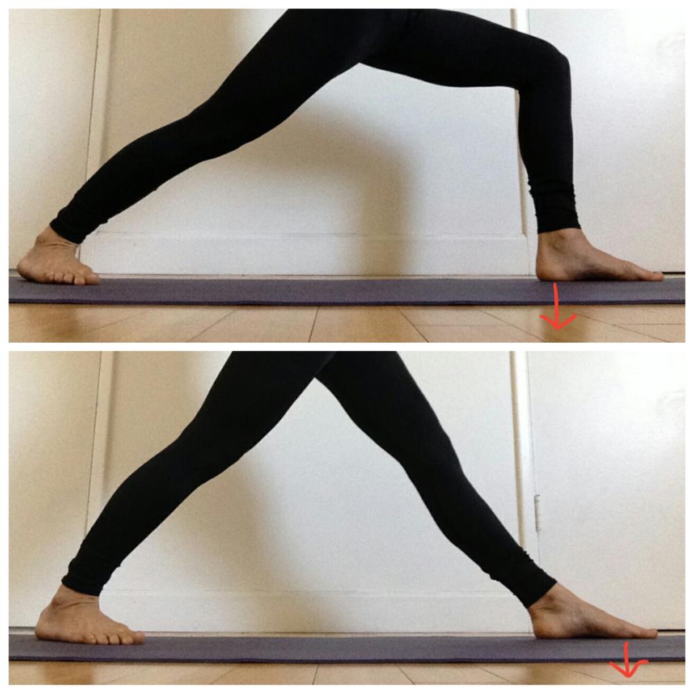 Top: Warrior 2 the weight is on front heel. Bottom: Warrior 1 pose the weight is on mount of the big toe.