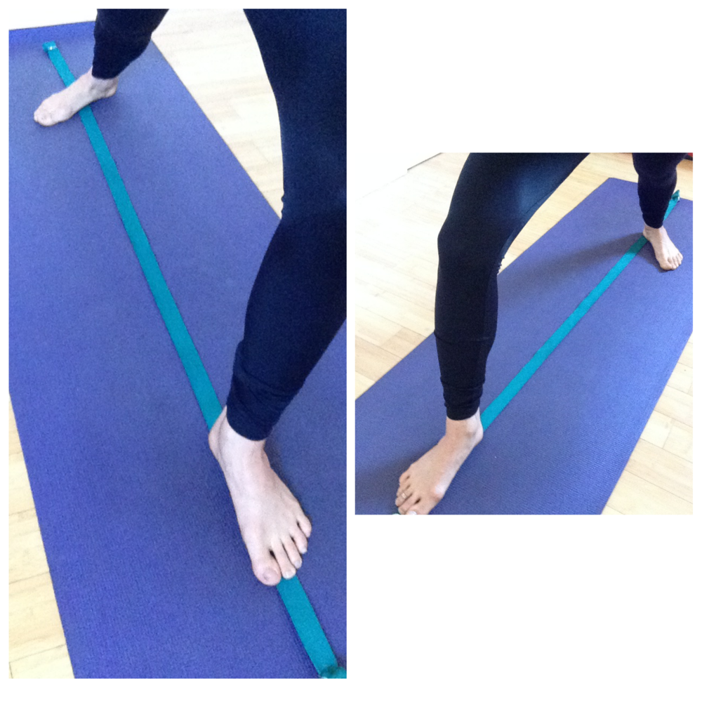 Left: Warrior 2 is front heel to back arch alignment. Right: Warrior 1 is front heel to back heel alignment.