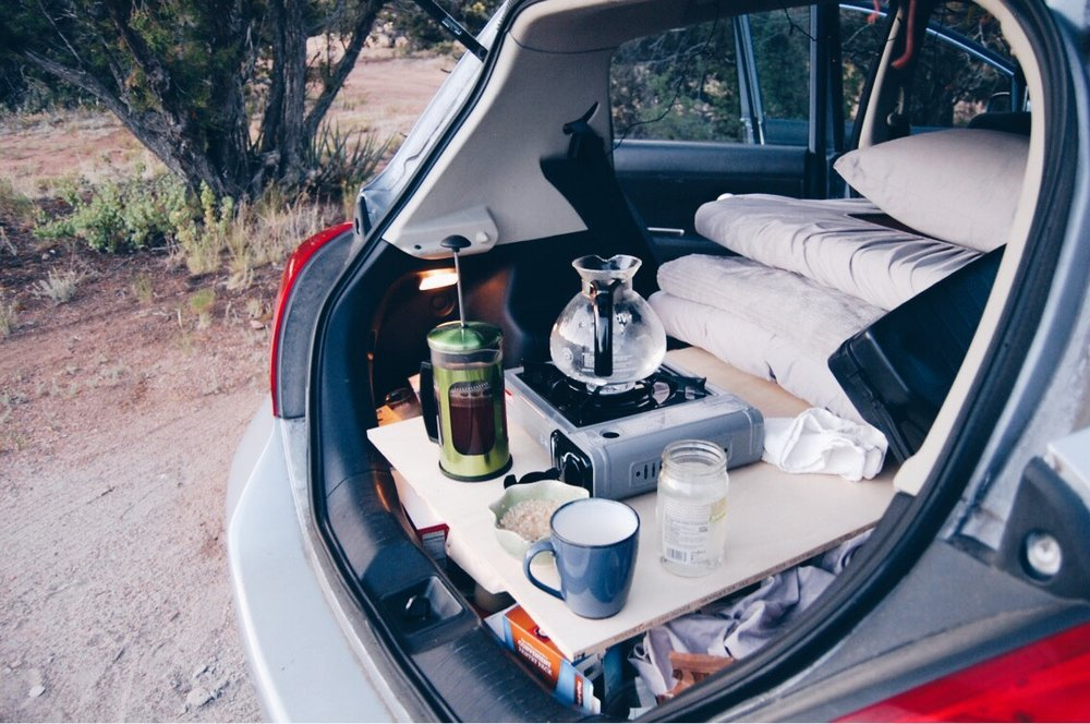 Breakfast in the camper-car