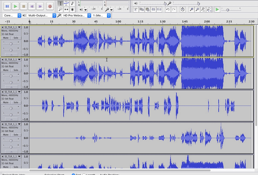 Audacity can open 5.1 audio. Then you can selectively export the tracks you want