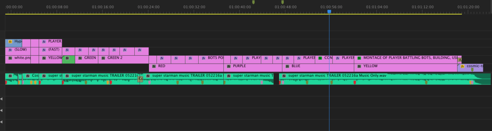 An early timeline with color mattes behind text indicating shot ideas for that particular section. This rough outline was sent to the composer.