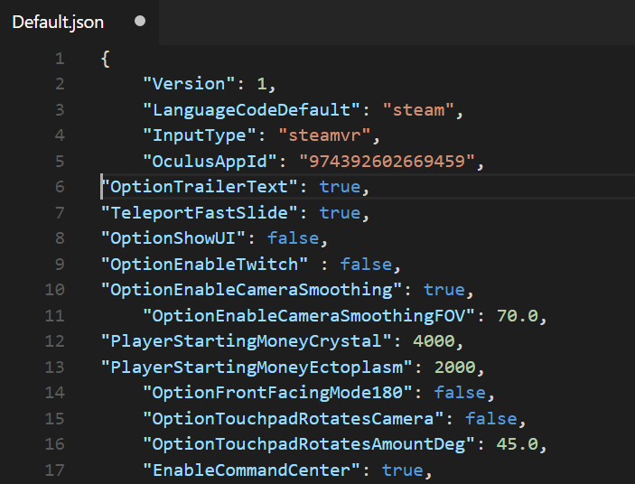 Options in the Default.json file, with some of the changes for trailer capture not indented.