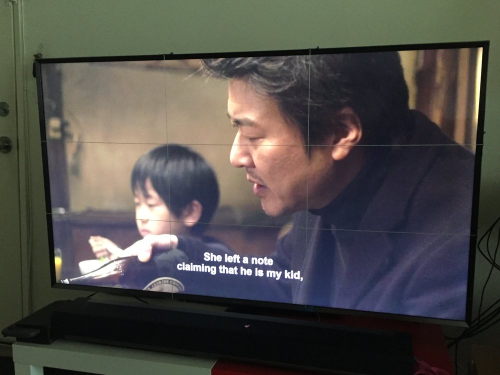 """My makeshift 3x3 grid. I was too lazy to take it off at lunch time; I ended up seeing how """"Midnight Diner: Tokyo Stories"""" used the rule of thirds."""