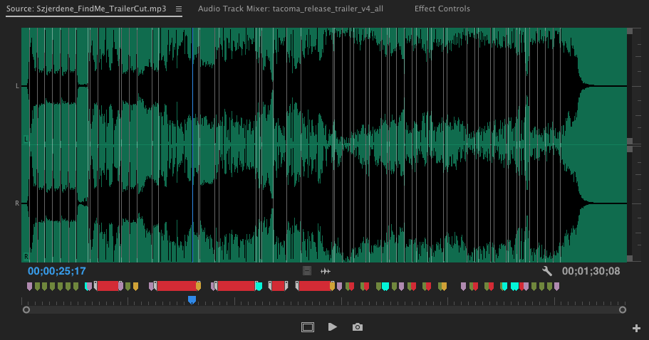 Before editing with a piece of music, I put color coded markers so I can know the structure of it at a glance. Here, the red sections are lyrics.