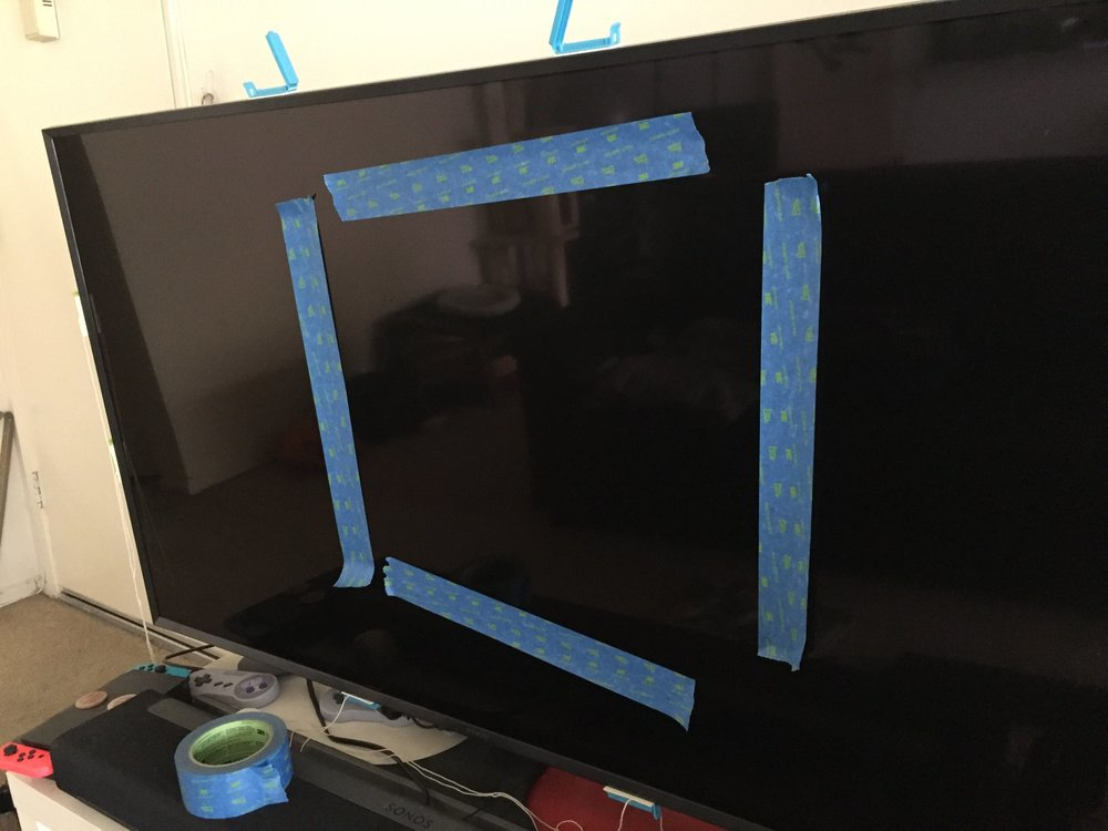 Painter's tape on my TV for the jump cut shot. Sometimes analog decisions are the fastest/easiest!