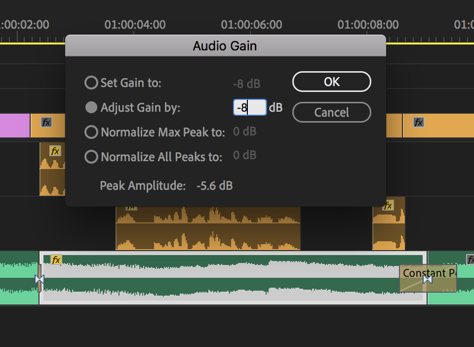 """STEP 2: Select the new clip, use the shortcut for """"Audio Gain"""", and lower the dB of the music"""
