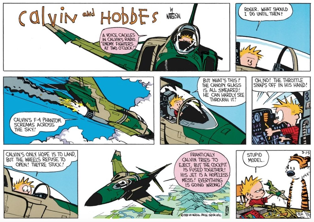 If you swapped the first two panels with the Calvin and Hobbes title panel, that would be the cold open/logo/trailer structure I use.