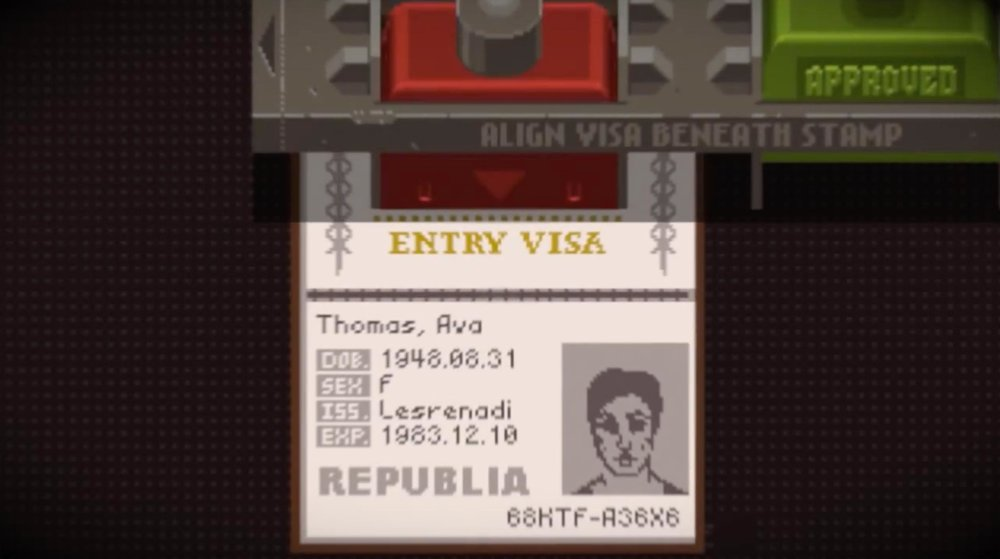 In the game, the passport can be placed in this space anywhere, and the stamp doesn't have to be made precisely in the box, but doing it this way makes it very clear, and adds a bit of personality to the character.
