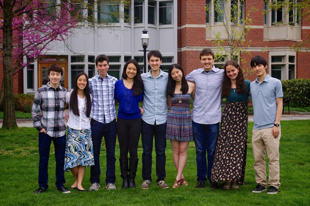 An early officer board of PPE. From left to right: Ethan Campbell, Helena Ma, Marcus Spiegel, Christine Li, Paul von Autenried, Ava Chen, Michael Mulshine, Dasha Koltunyuk, Thomas Reeves.