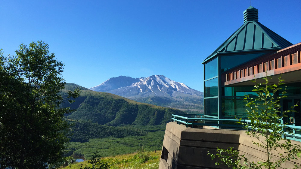 Stunning views abound of Mt. St. Helens at the start/finish area at the Science & Learning Center.