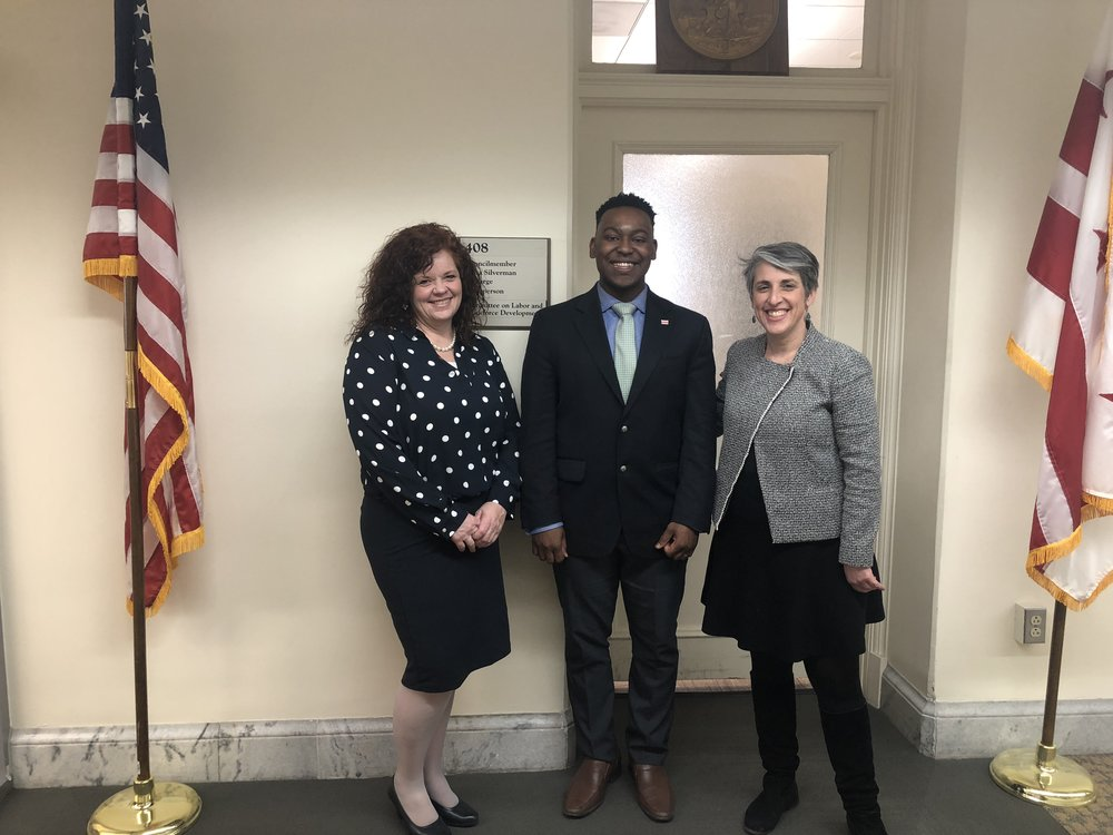 BOARD MEMBER JENNA DAY, ARTISTIC DIRECTOR ANDREW LEE, AND COUNCILMEMBER ELISSA SILVERMAN pose for a picture after meeting to discuss strengthening music education in DC Public Schools.