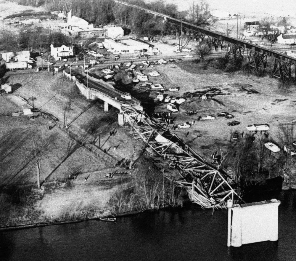 Aftermath of the Silver Bridge collapse.  Source