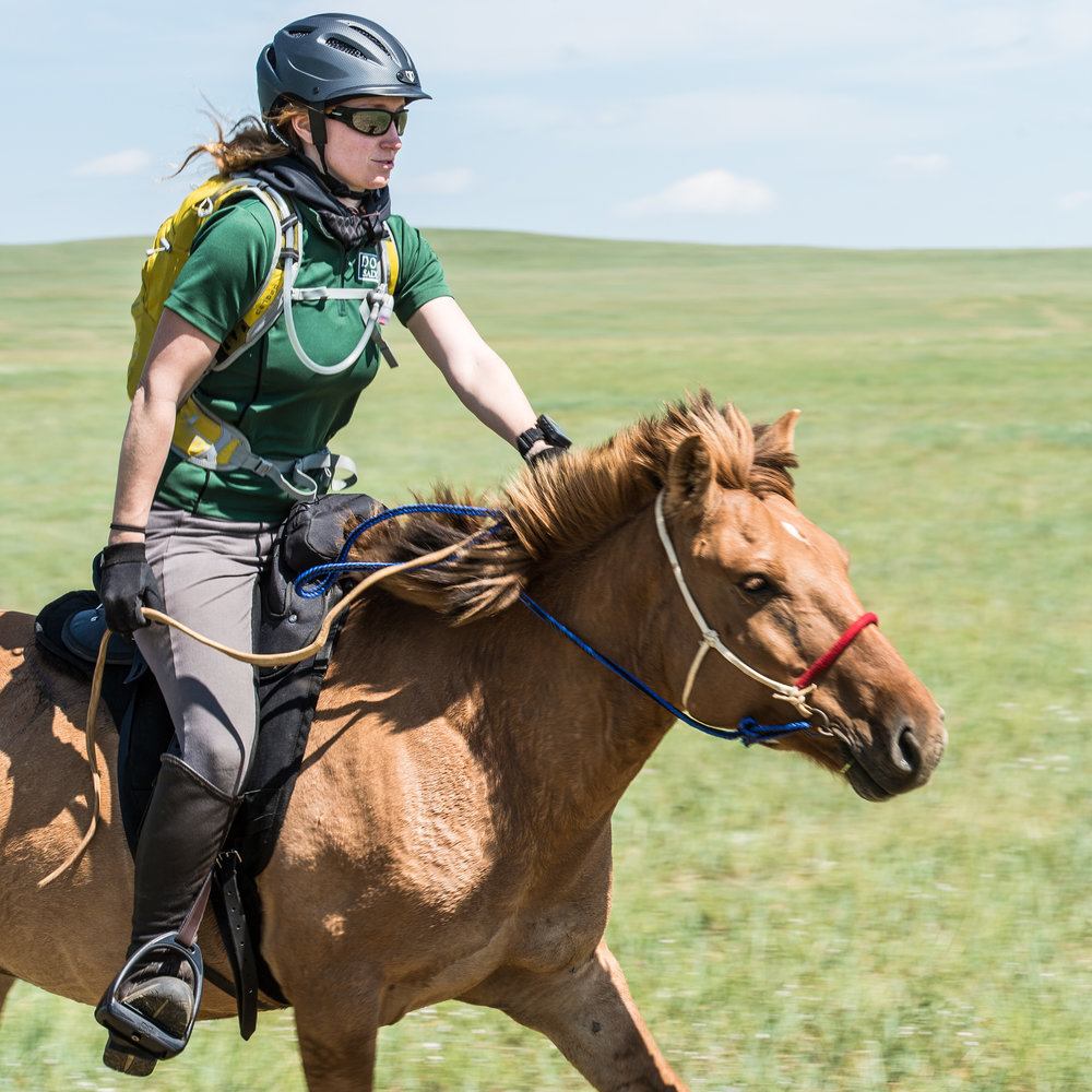 Jess riding in the Mongol Derby. Photo Credit: Richard Dunwoody