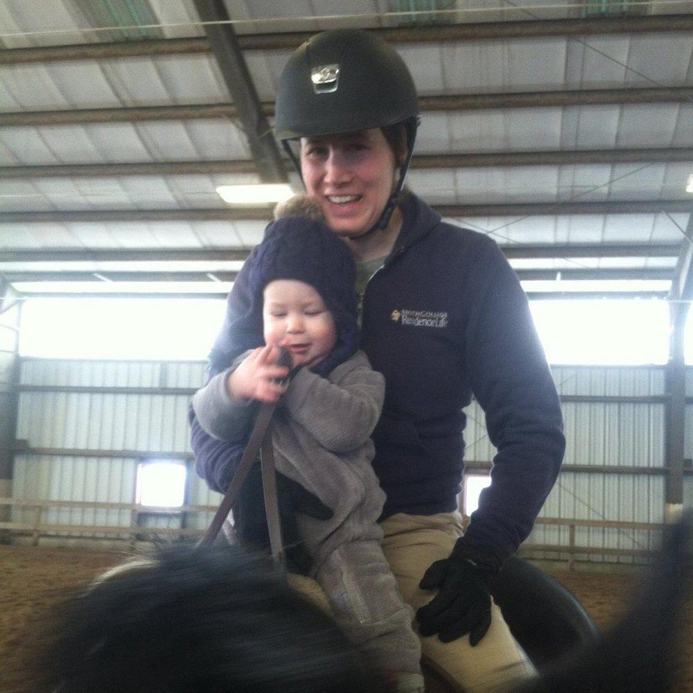 Sara and her son at Fox Meadow Farm
