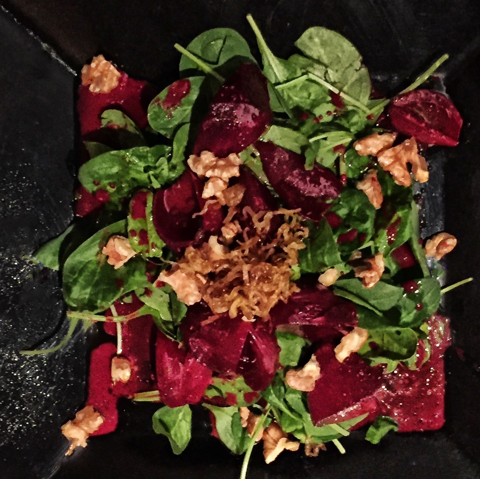 roasted beet salad with deep-fried shallots, thyme, toasted walnuts, baby spinach                                                                                                     photo courtesy of Barry Brukoff