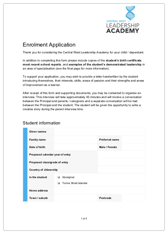 Application Form - (233kb PDF)