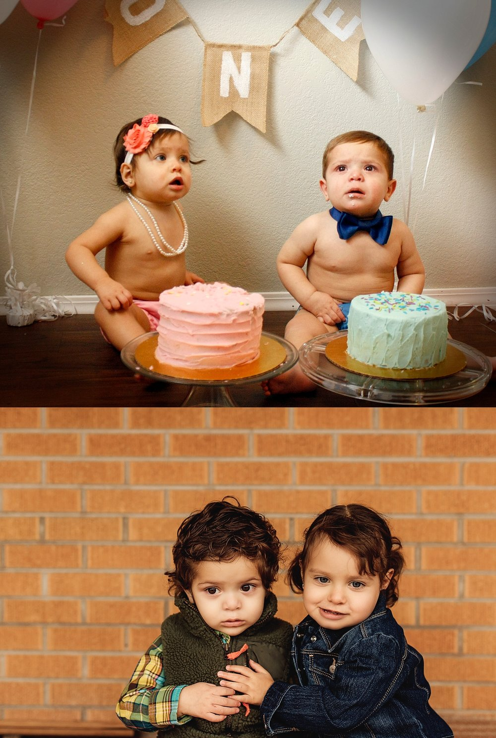 Above: One year ago - Mila and Liam's One year cake smash  Below: Today - Liam and Mila