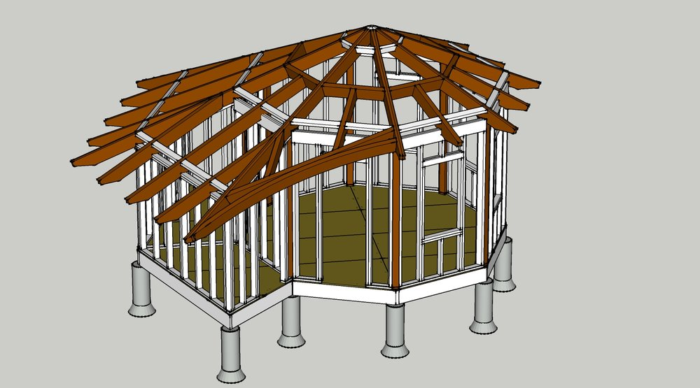 Framing for a potential retreat space I designed for the  Queen of Peace Monastery .