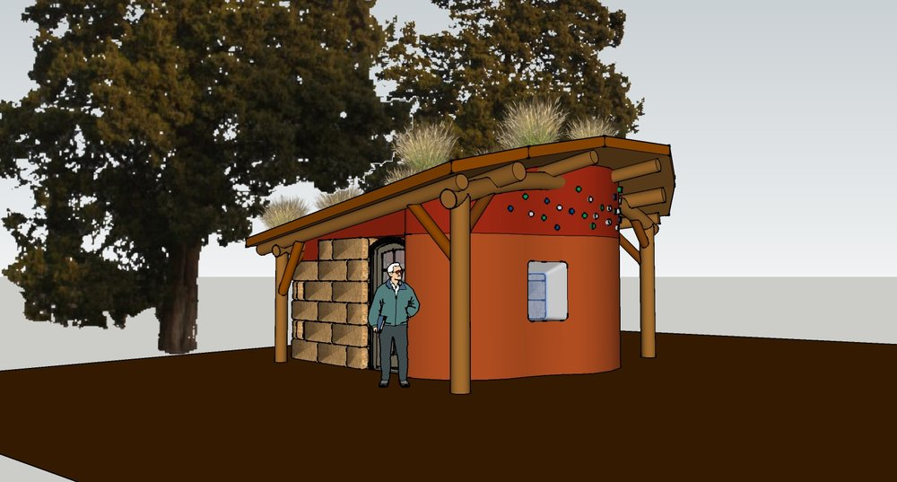 Design for a guest accommodation cabin at  OUR Ecovillage , which I drew as part of a naural building course I took there in 2015.