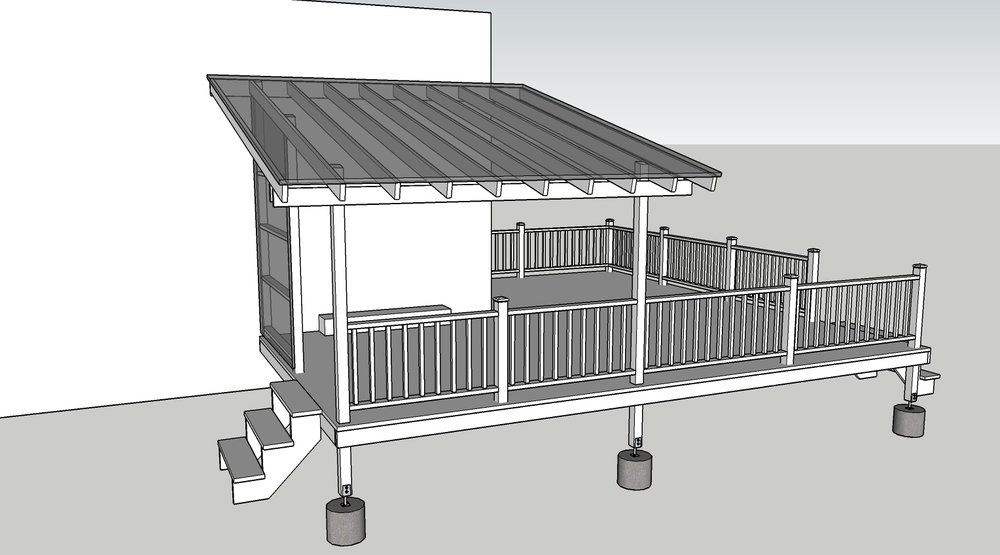 A deck idea I 3D modeled. The client is able to clearly see and change design details not evident in a quick 2D sketch. Once approved by the homeowner I sent drawings and a materials list to the contractor for an estimate.