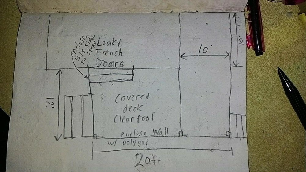 A quick sketch a client emailed me of a deck they were thinking about building, which I 3D modeled for them (see next image).