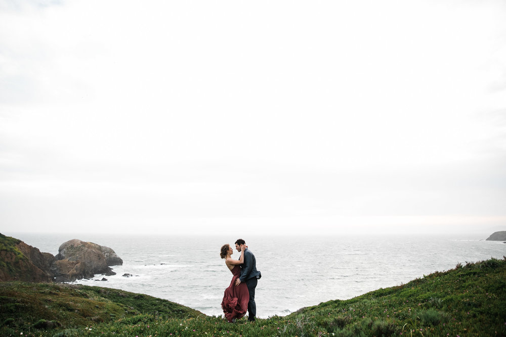 Land + Sea Marin Headlands Dramatic Adventurous Elopement BHLDN
