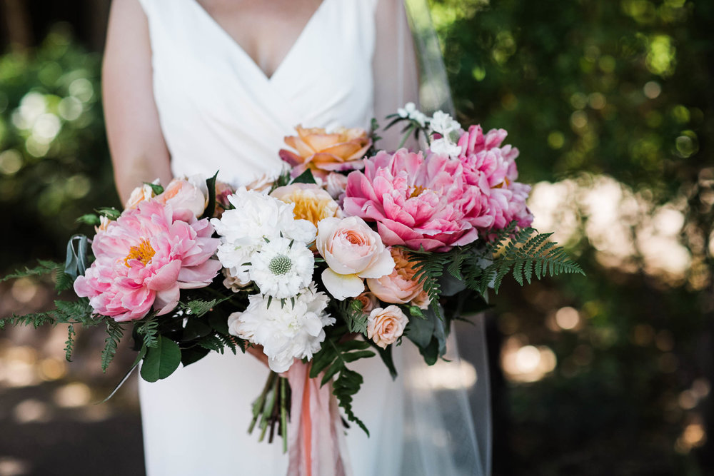 Burst Bloom pink peonies bridal bouquet Corkscrew Cafe Carmel Valley Wedding