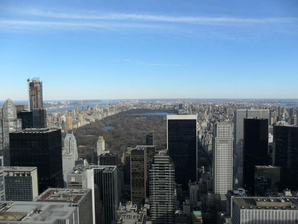 The view of Central Park from the top of the Rockefeller Centre, New York.