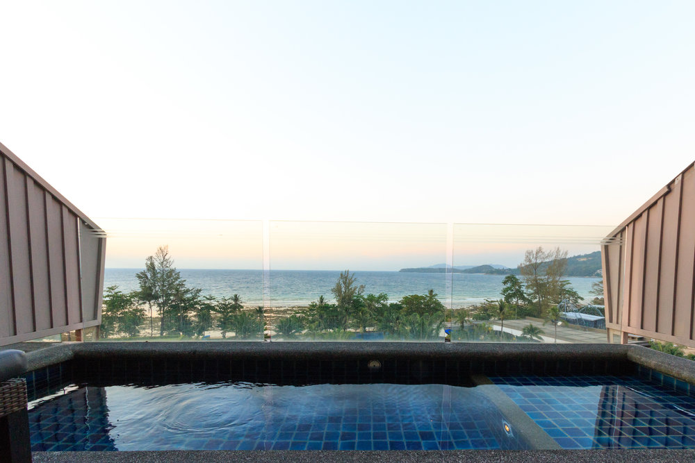 A plunge pool on our balcony was the perfect place to escape the afternoon sun. Image by Richard Coombs.