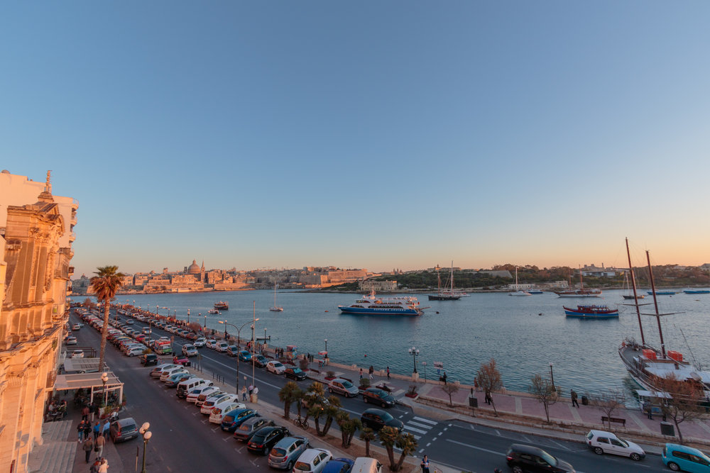Sliema Harbour at dusk. Image by Richard Coombs.