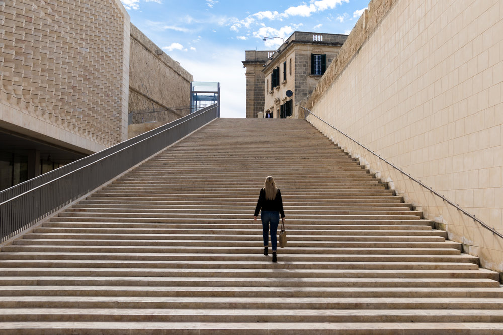 The steps next to the Parliament of Malta. Image by Richard Coombs.