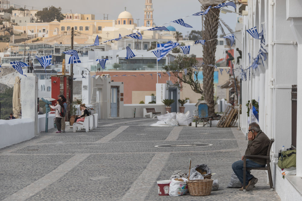 The streets of Fira. Image by Richard Coombs.