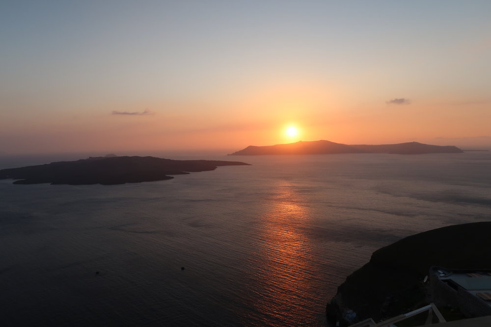 The sunset from Fira.