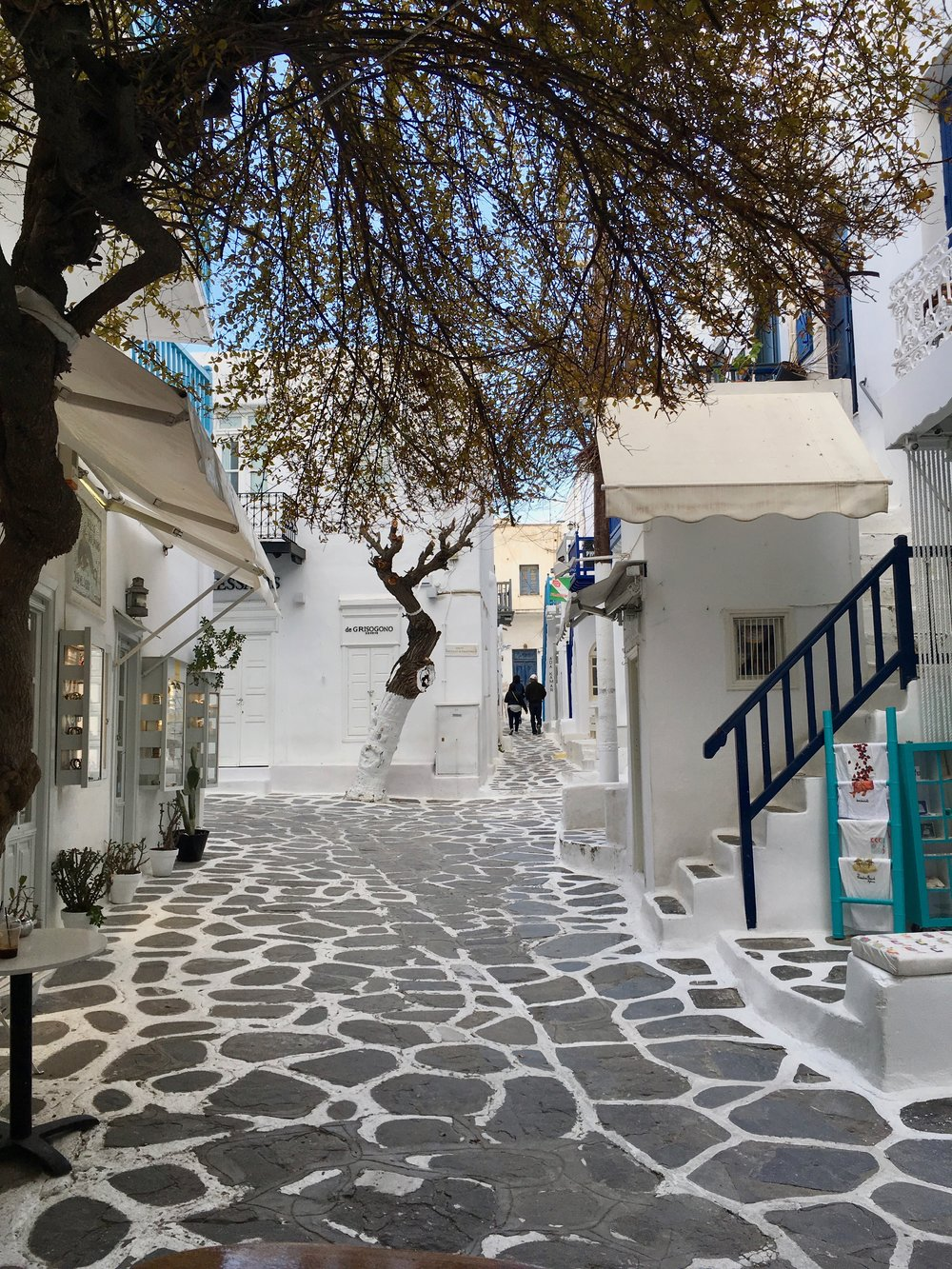 The streets of Mykonos Town out the front of Cosi.