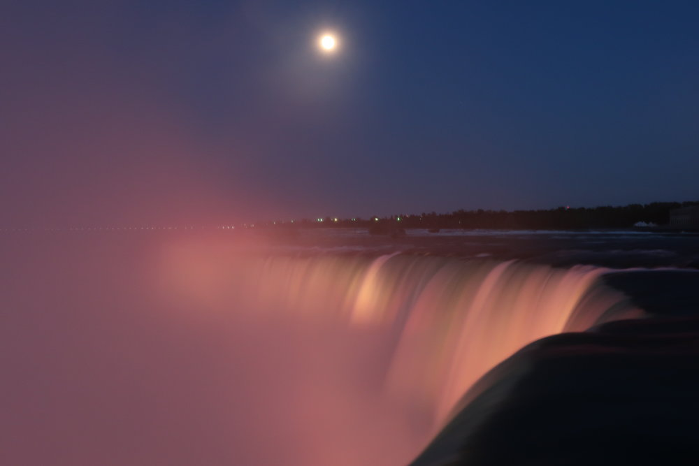 The Canada Falls at night