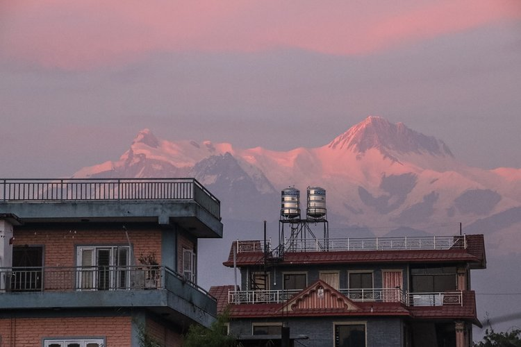 The gentle pastel palette of a Nepalese sunset.