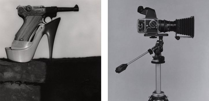 "(L) Stiletto with Gun, 1990; Gelatin silver print; 24 x 20"" (61 x 50.8cm); Edition of 10, 2 AP (R) Robert's camera, 1989; Gelatin silver print; 20 x 16"" (50.8 x 40.6cm); Edition of 3, 1 AP"