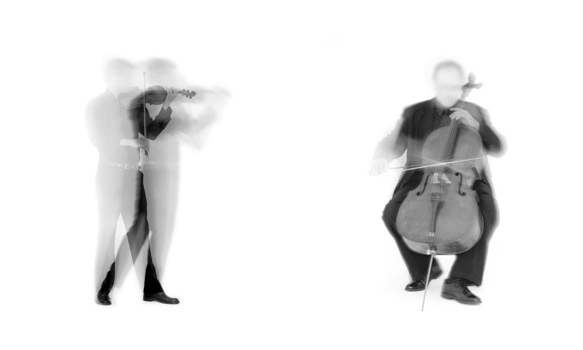 "(L) Violin D from the EOS portfolio, 2003; Iris print; 10 x 8"" (25.4 x 20.32cm); edition of 10, 2 AP (R) Cello from the EOS portfolio, 2003; Iris print; 10 x 8"" (25.4 x 20.32cm); edition of 10, 2 AP"