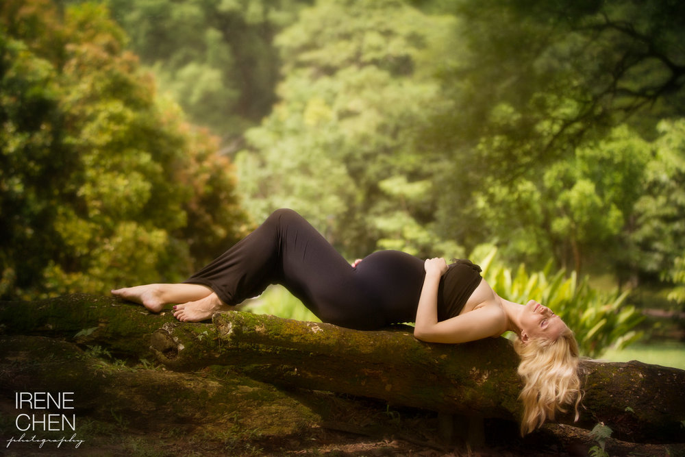 And our finale shoot....this was almost accidental.  Vik was getting pretty tired by then and stole a moment to lie down on an ancient and massive root.  I was so taken by the serene scene and her graceful curves that I commanded her to continue resting.  As she drifts off to sleep to the sound of rustling leaves, the camera and I worked hard to capture this enveloped-in-nature-sleeping-in-style scene. This must have been her favourite pose of the session.  And it turns out to be my personal favourite shot of the day too!
