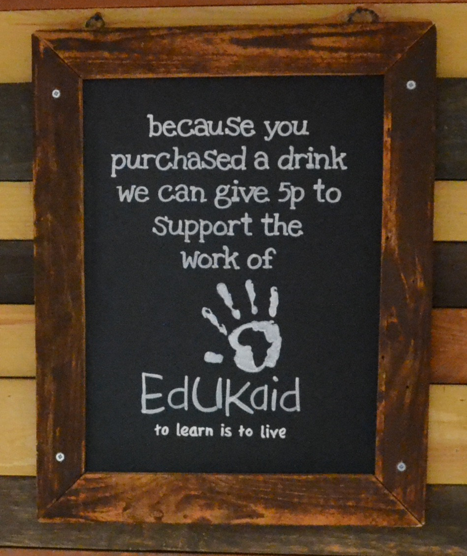 EdUKaid sign at Doozy Cafe