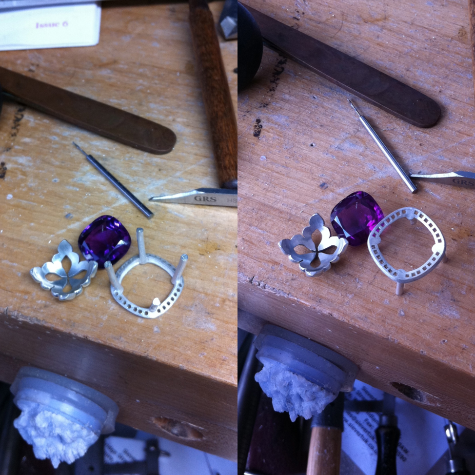 The finished lower gallery inspired by a lotus flower, together with the upper halo with prongs.