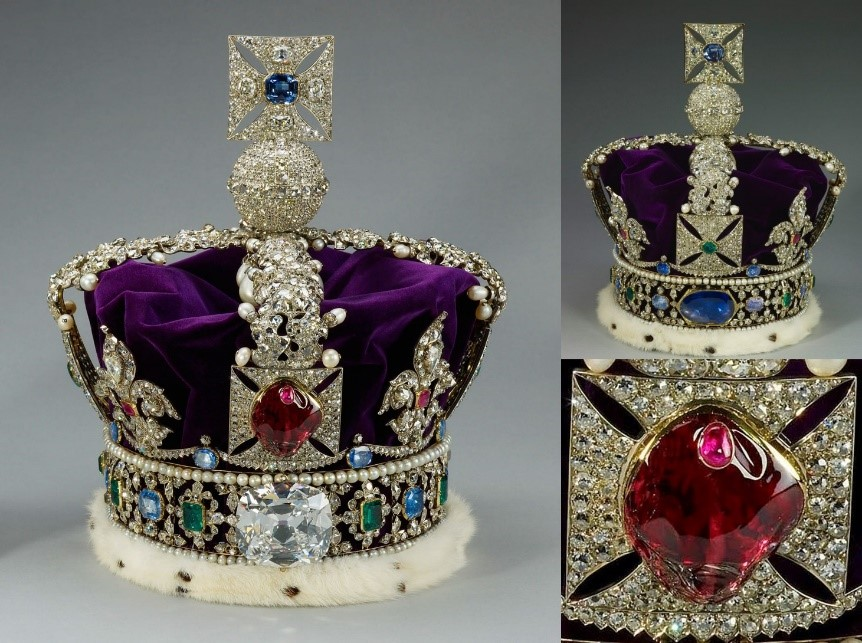 Taking center stage on Britain's Imperial State Crown the Black Prince's Ruby is in fact a spinel. The crown itself contains more famous gems than virtually any other ornament in the world. Significant gems include the Black Prince's Ruby, The Cullinan II diamond (cut from the same rough as the Cullinan I – the world's largest diamond, also residing in the crown jewels), the Stuart Sapphire – at the back of the crown, and the St. Edward's Sapphire (on top). Photo credit N/A.
