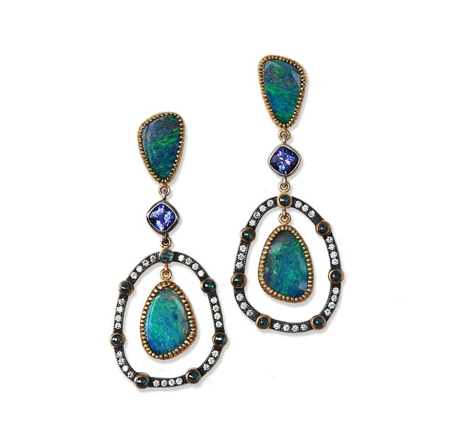Opal earrings jewellery school