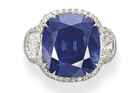 """A unique sapphire and diamond ring"" Weighing in at 42.28ct, this stunning certified unheated Kashmir sapphire set auction records for sapphire when it sold at Christies November 2008 auction in Geneva for $3,458,420 ($81,798 per carat). The record has since been beaten. Photo credit: Christies"