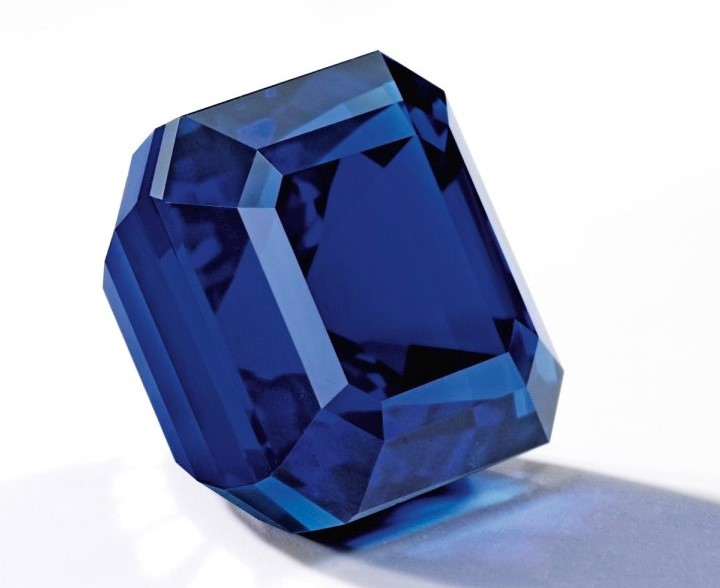 "The ""Jewel of Kashmir,"" a magnificent 27.68ct sapphire set a new per carat auction record for sapphire on 7 October 2015, when it sold at Sotheby's Hong Kong Auction for$6,745,688 ($243,703 ct). Photo credit: Sotheby's"