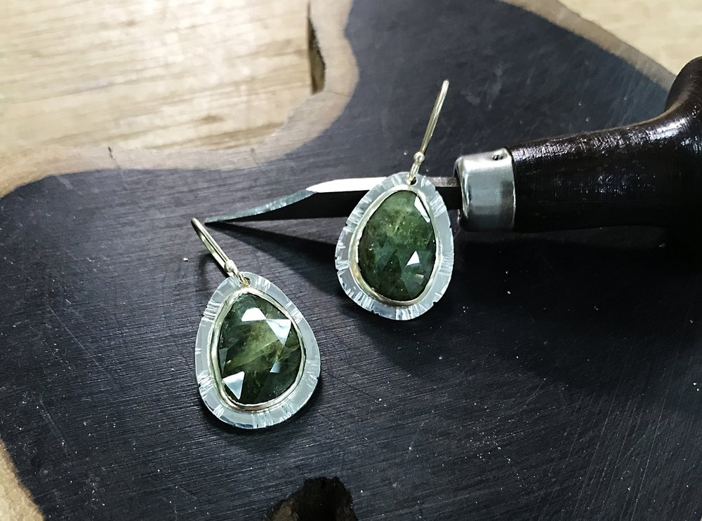 green sapphire gold and silver earrings