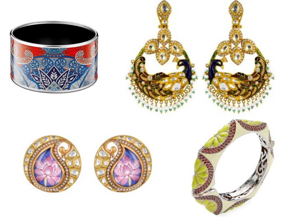 From Left to right: Art Deco Bracelet  (Hermes) ; Gold Lotus Flower Studs  (Zoya) ; Gold Peacock Hoops  (Zoya) ; Lime Green Flower Bangle (Gilt)