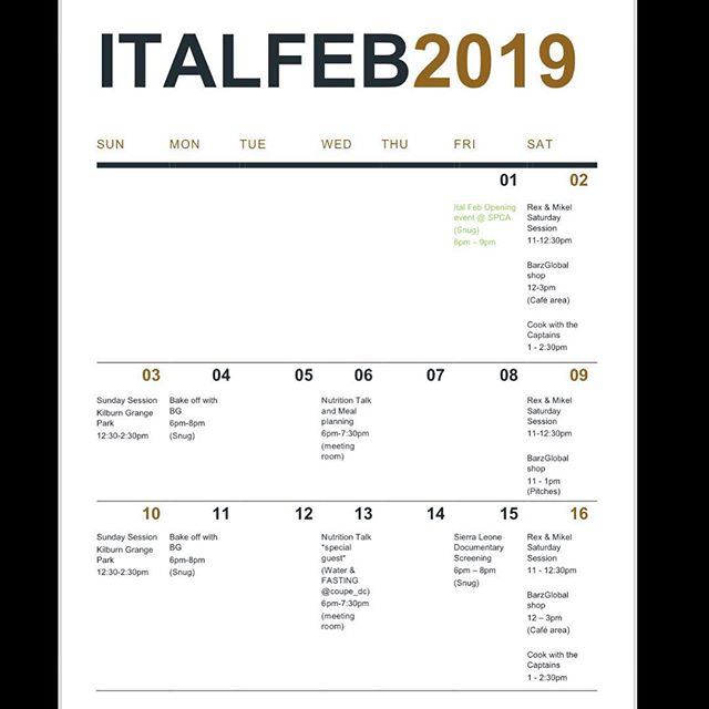 The schedule for #ItalFeb : Events + Pricing - also available on website (link in bio) Cooking classes, Fitness classes, Nutritional talks + more!! 🤫 DM for further information... 👆🏾🌱👇🏾#London #Events #PlantBased #Cleanse #Learn #Growth #OSUYEE #BarzGlobal